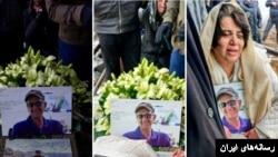 مریم ممبینی (راست) در مراسم خاکسپاری و دفن کاووس سیدامامی که در زندان اوین جان باخت