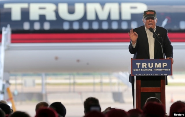 FILE - Republican U.S. presidential candidate Donald Trump speaks at a rally in Pittsburgh, June 11, 2016.