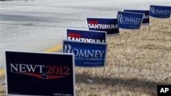 共和黨各路候選人在新罕布什爾州戶外掛出的宣傳牌(資料圖片)