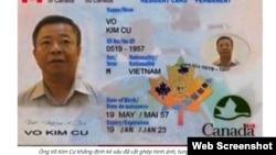 Hình ảnh được cho là thẻ thường trú nhân của ông Võ Kim Cự mà VOA tiếng Việt gửi cho chính quyền Canada để xác minh.