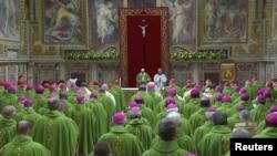 Papa Franja govori na kraju četvorodnevnog samita o sprečavanju seksualnog zlostavljanja dece u Vatikanu, 24. februar 2019.