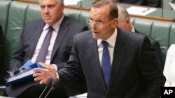 2015年2月23日澳大利亚堪培拉: 澳大利亚总理艾伯特在国会谈反极端主义战略