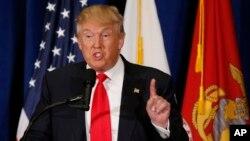 Republican presidential candidate Donald Trump gestures during a speech in Virginia Beach, Virginia, July 11, 2016.