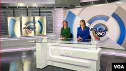 VOA's Nathaly Salas Guaithero and Carolina Valladares on the set at Studio 47.