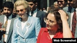 Leyla Yunus, right, with Margaret Thatcher during the latter's visit to Azerbaijan in September 1992