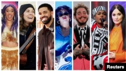 FILE - Grammy Award nominations in Album of the Year category includes artists in this combination photo L-R: Cardi B, Brandi Carlile, Drake, H.E.R., Post Malone, Janelle Monae, and Kacey Musgraves. Kendrick Lamar (not shown) also made the list.