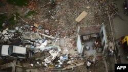 厄瓜多爾地震災區鳥瞰圖。該地區4月份曾經遭受7.8級強震,650人死亡 。