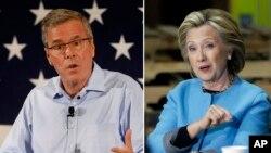 Jeb Bush y Hillary Clinton, favoritos hasta ahora en sus respectivos partidos.