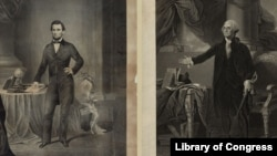 Portraits of American Presidents Abraham Lincoln and George Washington. (Library of Congress)