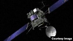 Phi thuyền đổ bộ Philae (màu xanh) của phi thuyền Rosetta