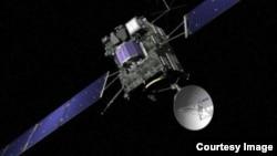 Rosetta, vue par un artiste (© ESA/J. Huart)