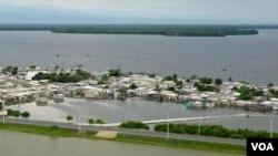 Vista aérea de las inundaciones en los municipios de Pueblo Viejo y Zona Bananera, en el departamento de Magdalena.