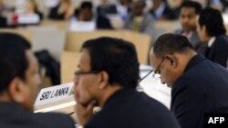 Delegasi Sri Lanka menghadiri kajian periodik PBB untuk HAM di kantor pusat Hak Asasi Manusia PBB di Jenewa (1/11).