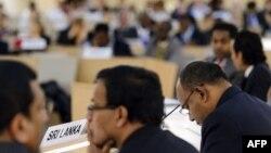 1일 유엔 인권이사회에 참석한 스리랑카 대표단.