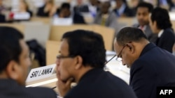 Members of the Sri Lanka's delegation attend a periodic review of the human rights situation in the Sri Lanka before the United Nations (UN) Human Rights Council in Geneva, November 1, 2012.