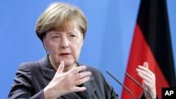 La chancelière allemande Angela Merkel à la chancellerie à Berlin , le 29 janvier 2016.
