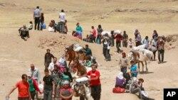 Para pengungsi Suriah menyeberangi perbatasan Irak di Peshkhabour, Dahuk, 430 km baratlaut Baghdad, Irak (20/8/2013).