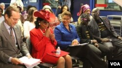 The 'Chibok Girls Not Forgotten' event brought together, from left, VOA Director David Ensor, U.S. Representatives Frederica Wilson and Karen Bass, escaped Chibok schoolgirl Patience Bulus and human rights lawyer Emmanuel Ogebe.