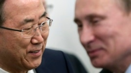 U.N. Secretary-General Ban Ki-moon (L) and Russia's President Vladimir Putin smile as they meet at Bocharov Ruchei state residence in Black Sea resort of Sochi, May 17, 2013.
