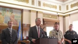 FILE - South Dakota Attorney General Marty Jackley announced charges against two consultants who worked with a Native American tribe on its plans to open the nation's first marijuana resort during a news conference Aug. 3, 2016, in Flandreau, S.D. The cha