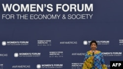FILE - The Executive Director of U.N. Women, Phumzile Mlambo-Ngcuka, speaks during the Women's Forum Americas in Mexico City, Mexico, May 30, 2019.