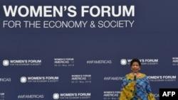 Direktur Eksekutif UN Women Phumzile Mlambo-Ngcuka Women berbicara di Women's Forum Americas di Mexico City, Meksiko, 30 Meksiko 2019.