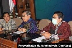 Wakil Ketua Majelis Pendidikan Dasar dan Menengah Muhammadiyah, Kasiyarno, dalam konferensi pers di Jakarta, Rabu, 22 Juli 2020. (Foto: Persyarikatan Muhammadiyah)
