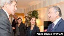 Kıbrıs Türk Cumhurbaşkanı Mustafa Akıncı ve ABD Dışişleri Bakanı John Kerry