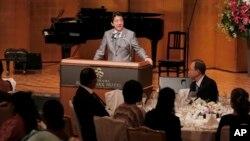 PM Jepang Shinzo Abe memberikan pidato pada konferensi internasional untuk Afrika yang dihadiri Sekjen PBB Ban Ki-moon di Yokohama, Minggu (2/6).
