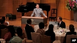 아베 신조 일본 총리가 2일 아프리카개발회의에서 연설하고 있다