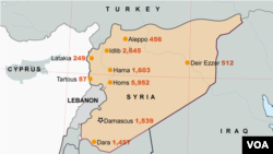Protestor Deaths Across Syria (click to enlarge)
