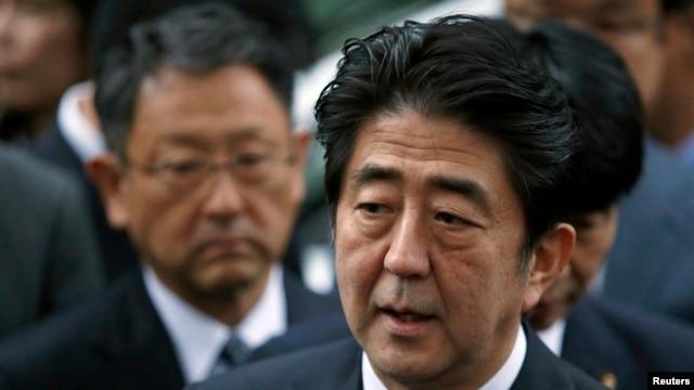 FILE - Japan's Prime Minister Shinzo Abe speaks to the media.