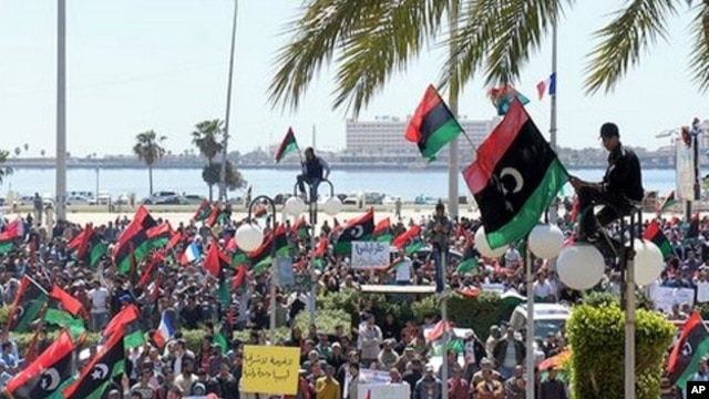 Anti-Gadhafi protesters in Benghazi reject an African Union peace plan calling for dialogue,  April 11, 2011