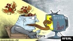 Karikatura koja predstavlja medijsko agitovanje (Autor: Олексія Кустовського, preuzeto sa radiosvoboda.org)
