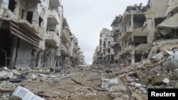 Bangunan-bangunan rusak di Jouret al-Shayah, wilayah Homs, Suriah (Foto: dok). Beberapa orang dilaporkan tewas ketika bom mobil mengguncang sebuah kompleks militer Suriah di wilayah Palmyra, propinsi Homs, Suriah tengah, Rabu (6/2).