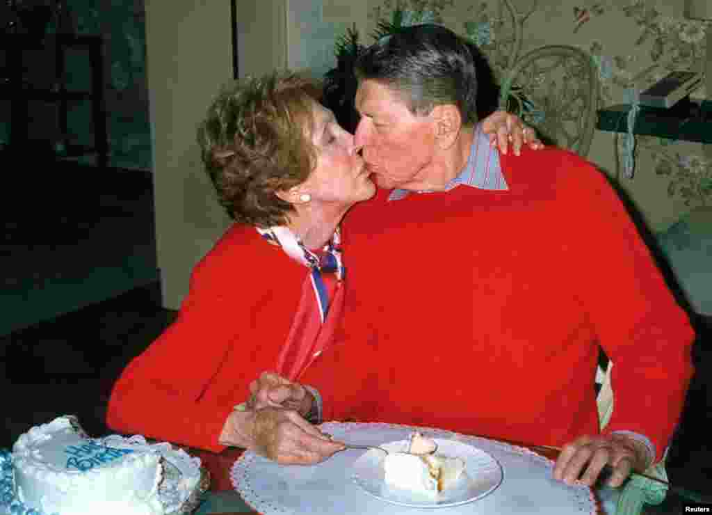 A hand out photograph of Ronald and Nancy Reagan taken on Feb. 6, 2000, on the occasion of President Reagan's 89th birthday celebration at the Reagan's home in Bel Air, California, released by Reagan's office.