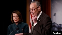 Senate Minority Leader Chuck Schumer, accompanied by House Minority Leader Nancy Pelosi, speaks at a news conference about the omnibus spending bill passed by Congress in Washington, March 22, 2018.