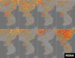 미국 국립해양대기청(NOAA)이 위성사진을 토대로 분석한 한반도 가뭄 지수(Drought index) 연간 분포도. 2012년이후 올해가 가장 심각한 상태인 것으로 나타난다. 가뭄의 정도에 따라 '중간'과 '높음', '심각' 수준을 각각 노란색, 빨간색, 검붉은색으로 표시했다.