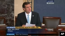 El senador republicano por Texas Ted Cruz, habla en el Senado en una foto de la televisión tomada a las 5:21 de esta mañana.