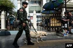 FILE - A Thai soldier with a sniffer dog walks near Erawan Shrine, a popular tourist destination that was the site of a bomb attack almost one year ago, in Bangkok on August 12, 2016.