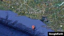 Peta El Salvador yang sedang terkena gempa.