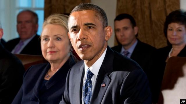 Tổng thống Hoa Kỳ Barack Obama và cựu Bộ trưởng Ngoại giao Hillary Clinton