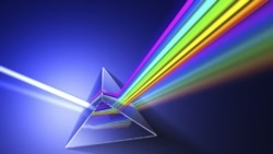 Isaac Newton showed that a prism of glass can separate white light into a spectrum of colors.