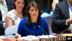FILE - U.S. Ambassador to the United Nations Nikki Haley speaks during a Security Council meeting, Aug. 28, 2018, at United Nations headquarters in New York.