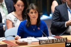 FILE - U.S. Ambassador to the United Nations Nikki Haley speaks during a Security Council meeting at United Nations headquarters, Aug. 28, 2018.