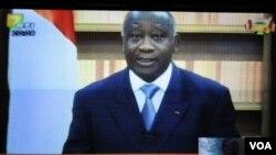 Laurent Gbagbo berpidato di televisi nasional pekan lalu untuk menyatakan dirinya tidak akan meletakkan kekuasaan.