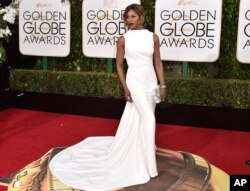 Laverne Cox arrives at the 73rd annual Golden Globe Awards on Jan. 10, 2016, at the Beverly Hilton Hotel in Beverly Hills, Calif.
