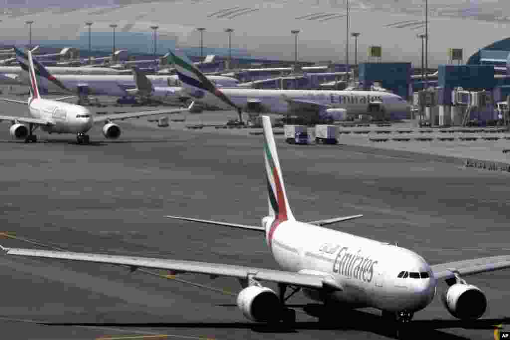 The Mideast's largest airline, Emirates, says that it is stopping flights to Guinea until further notice because of concerns about the spread of the Ebola virus, Dubai, United Arab Emirates, Aug. 3, 2014.