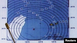 6點8級地震星期一襲台灣﹐顯示震央在花蓮外海以東處。