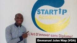 Claudel Noubissié, président de startup academy à Yaoundé, Cameroun, le 23 août 2017. (VOA/Emmanuel Jules Ntap)